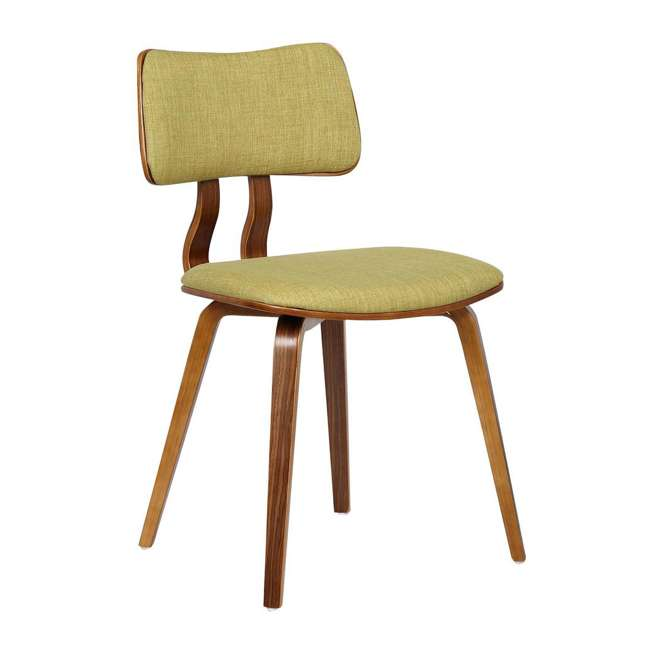 LCJASIWAGREEN Armen Living Jaguar Mid Century Dining Chair in Walnut & Green Fabric (2 Pack) 2
