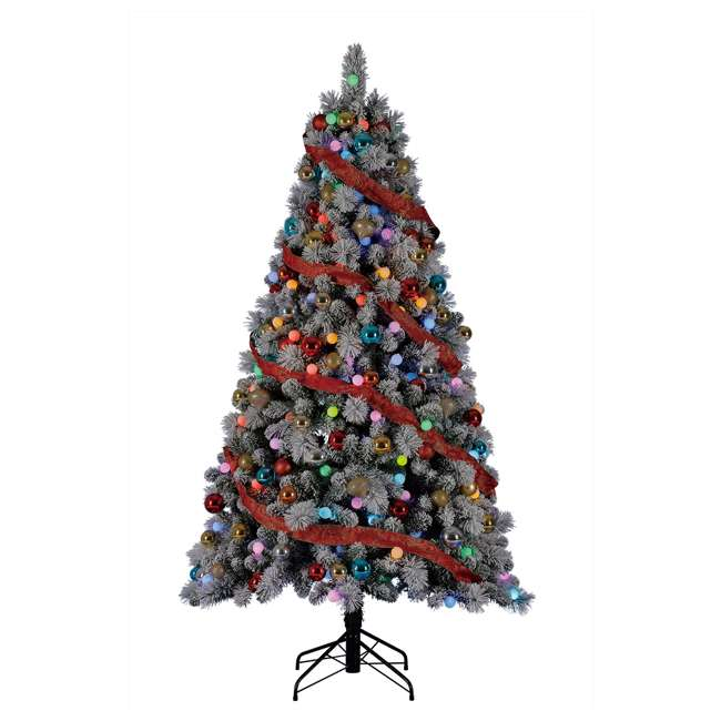 TG70M3W92P00 Home Heritage Cascade 7 Foot Flocked Prelit Artificial Christmas Tree w/ Stand 1