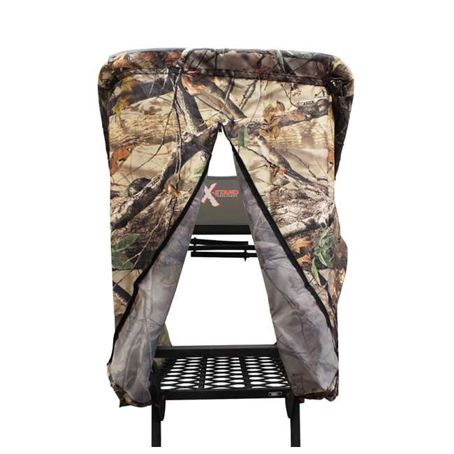 XSCT314 + XATA605 + XASA900-3 X-Stand X-1 Hunting Tree Stand w/ Camouflage Blind Kit & Rope System (3 Pack) 7