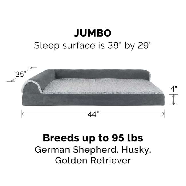 64541087BX Furhaven Deluxe Memory Foam L Shaped Chaise Sofa Pet Dog Bed, Stone Gray, Jumbo 2