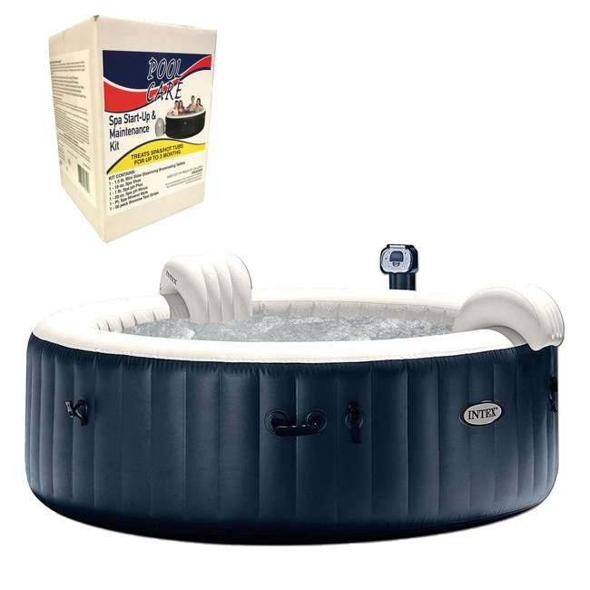 28409E + QLC-14890 Intex Pure Spa 6 Person Inflatable Hot Tub & Chemical Kit