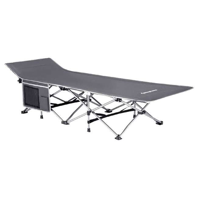 KC800520010000 KingCamp Folding Deluxe Lightweight Portable Camping Side Pocket Bed Cot, Gray