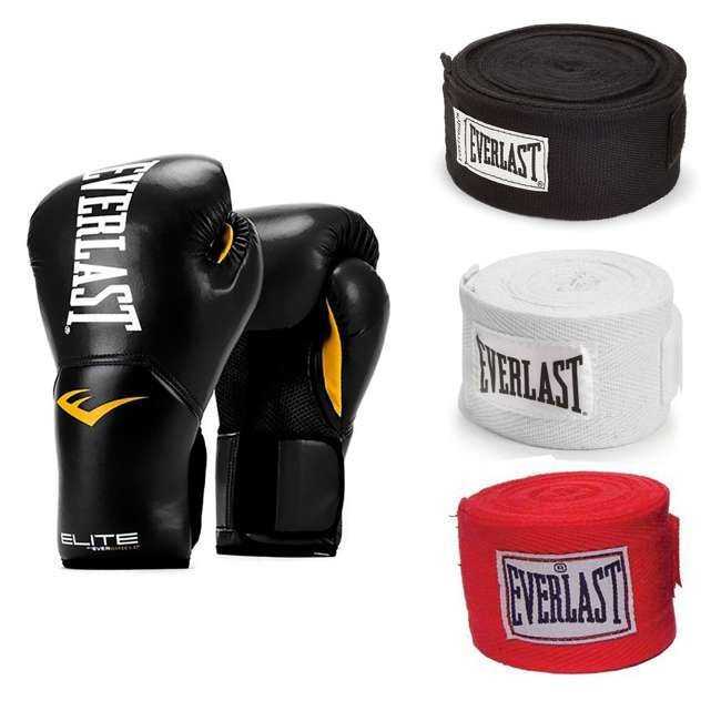 P00001240 + 4455-3 Everlast Boxing Gloves Size 12 Ounces & Hand Wraps (3 Pack)