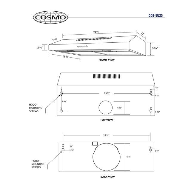 COS-5U30 Cosmo COS-5U30 30 Inch Under Cabinet Range Hood w/ Push Control, Stainless Steel 5