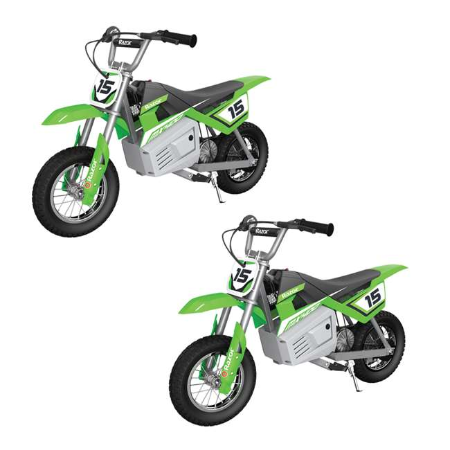 15128030 Razor MX400 Dirt Rocket Electric Motorcycle, Green (2 Pack)