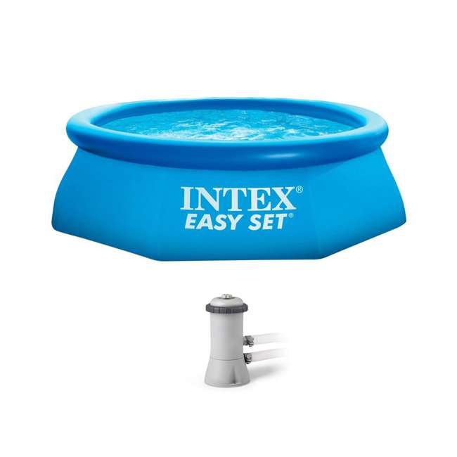 Intex 8 39 x 30 easy set inflatable above ground polygonal for Inflatable above ground pools