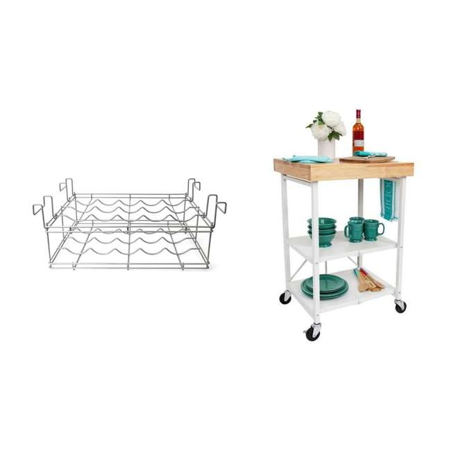 RBT-04 + R-KC-01 Origami Kitchen Island Bar Cart with Double Wine Rack