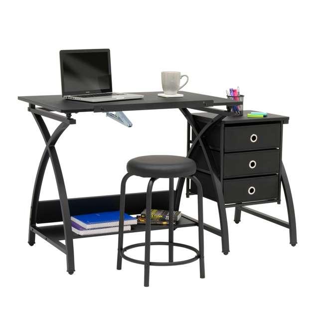 STDN-38015 Studio Designs Venus 2-Piece Craft Adjustable Tabletop w/ Storage & Stool, Black 3
