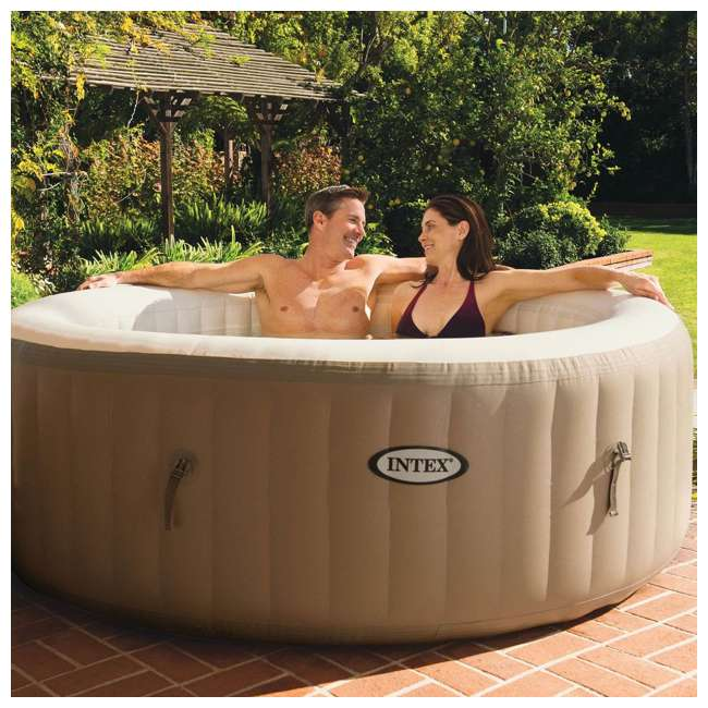 28403E + 28503E Intex PureSpa 4-Person Inflatable Bubble Jet Spa Portable Hot Tub & LED Light  2