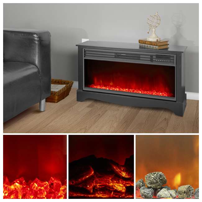 LS-ZCFP1034US-BLACK LifeSmart LifeZone Electric Infrared Quartz Fireplace Heater (2 Pack) 3