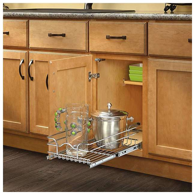 5WB1-1222-CR Rev-A-Shelf 12 Inch Wide 22 Inch Deep Base Kitchen Cabinet Pull Out Wire Basket 4