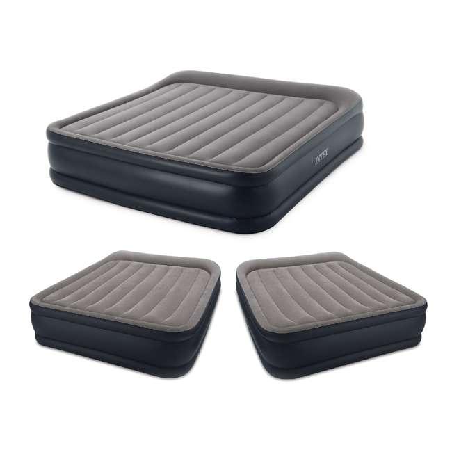 64137VM + 2 x 64135EP Intex Deluxe King Pillow Rest Inflatable Air Beds w/ Pump & 2 Queen Air Beds