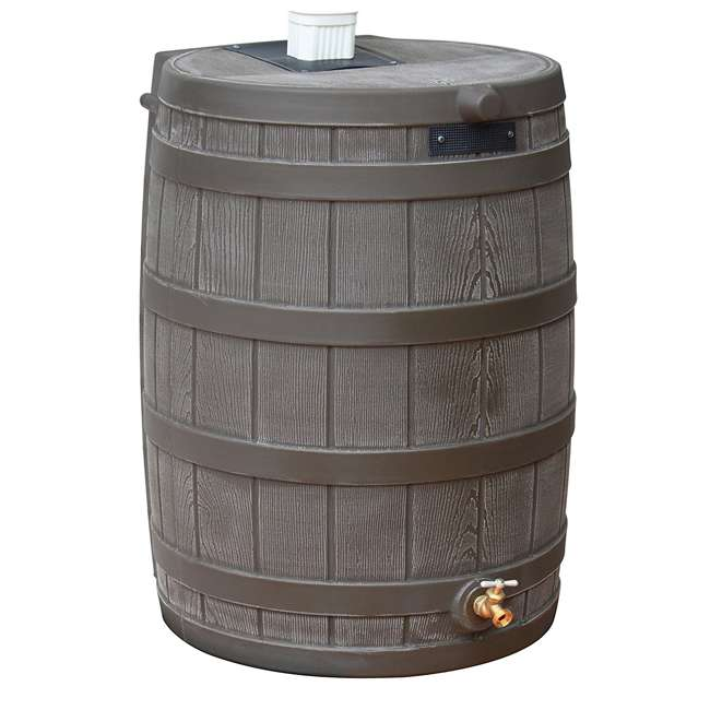 RW50-OAK-U-A Good Ideas 50 Gallon Rainwater Collection Barrel Drum, Oak (OpenBox) (2 Pack)