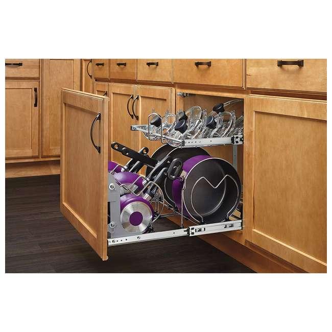 5CW2-2122-CR Rev-A-Shelf 5CW2 Series 21 Inch 2 Tier Wire Organizer for Cookware, Chrome 8
