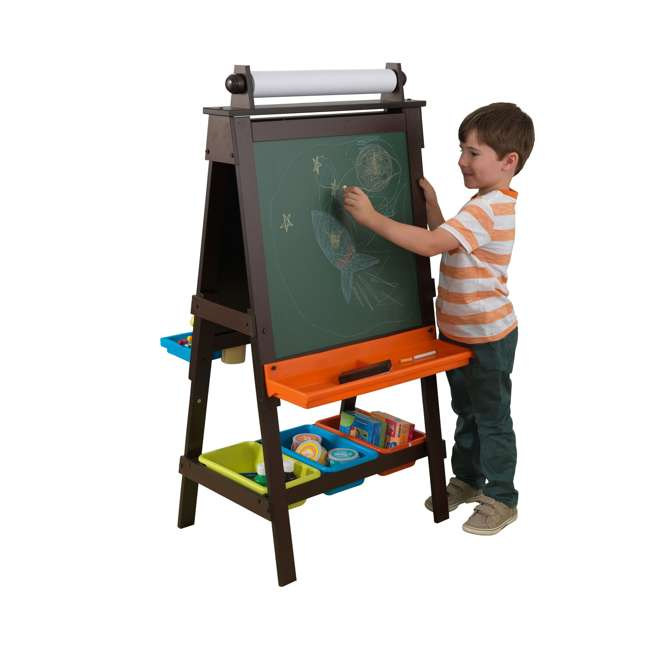 62043 KidKraft Kids Chalkboard & Whiteboard Art Easel with Paper Roll, Espresso 1