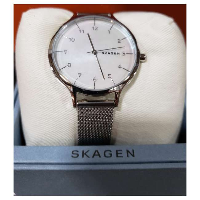SKW2701-U-A Skagen Anita 36mm 3 Hand 5 Steel-Mesh Mother of Pearl Womens Watch  (Open Box)