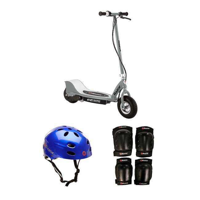 13116312 + 97981 + 96784 Razor Electric Kids Scooter, Silver + Youth Sport Helmet + Elbow & Knee Pads