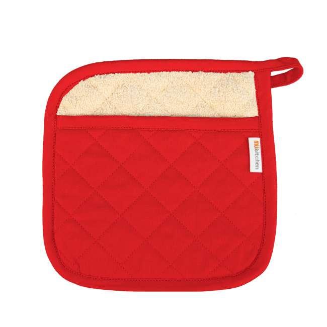 9345-0906 MUkitchen 4 Piece Kitchen Dish Cloth, Towel, and Oven Mitt Set, Red 1