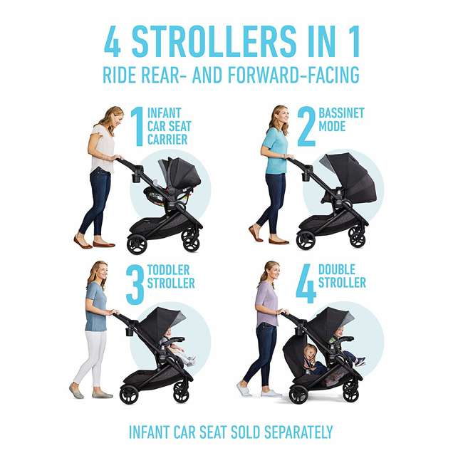 2083433 Graco Modes2Grow 4 in 1 Convertible Double Baby Toddler Stroller, Spencer Gray 2