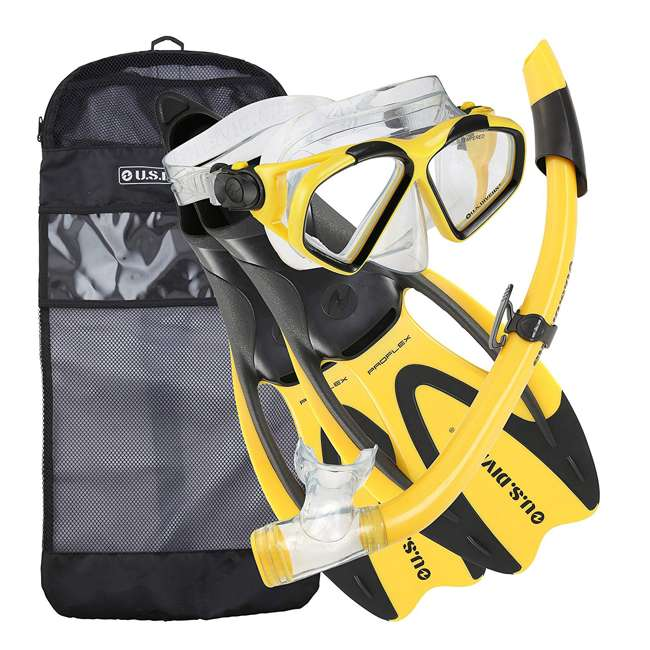 SR259O0701XL U.S. Divers Cozumel Snorkeling Set with XL Fins, Mask, Snorkel, and Bag, Yellow