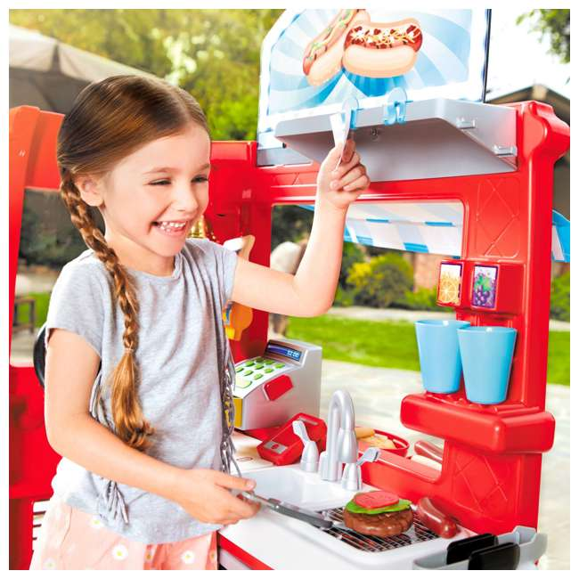 643644M Little Tikes 2-in-1 Kids Pretend Play Pop Up Ice Cream and Food Truck 11