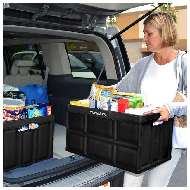 8031748-0063PK CleverMade Durable Stackable 62L Home Collapsible Storage Bins, Black (3-Pack) 6