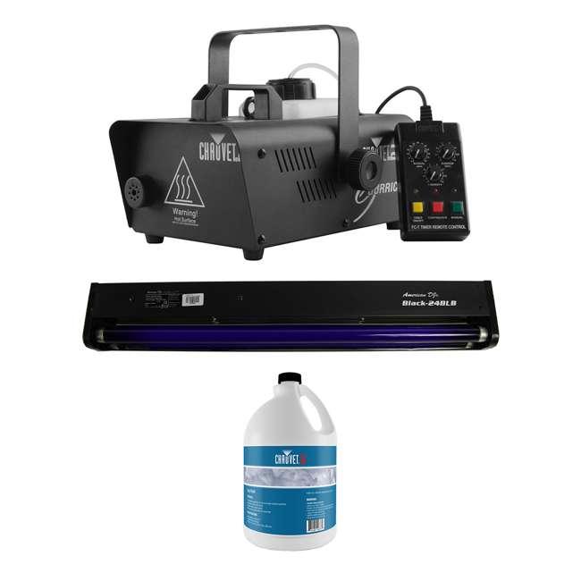 H1600 + BLACK-24BLB + FJU CHAUVET DJ Hurricane 1600 2.4L Fog Machine + 20W Black Light + Fog Juice