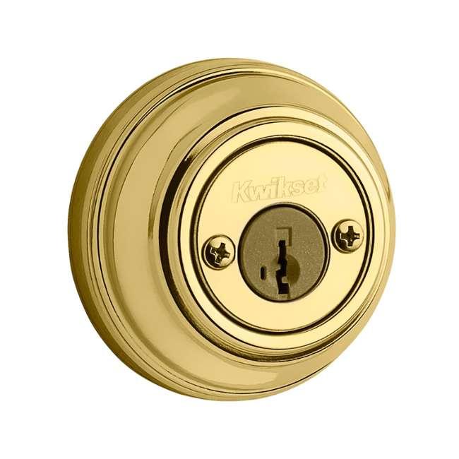 99850-055-U-B Kwikset 985 980 Series 2-Cylinder Keyed Deadbolt, Polished Brass (Used) 1