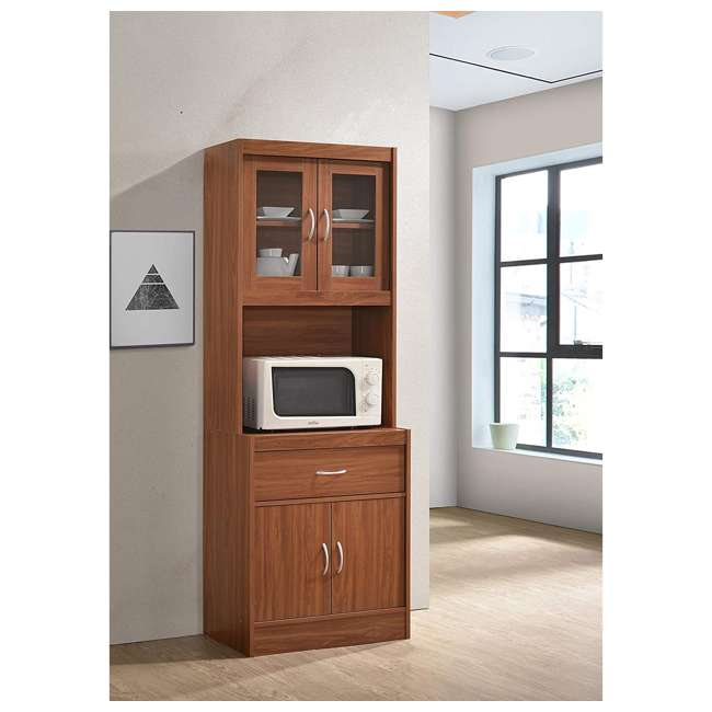 "HIKF96 CHERRY Hodedah Import 70"" Tall Top/Bottom Enclosed Kitchen Cabinet with Drawer, Cherry 1"