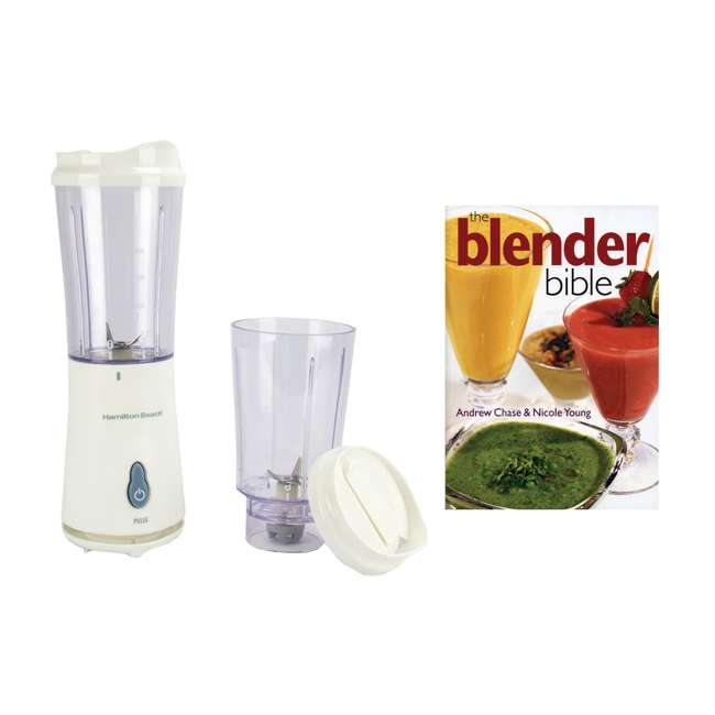 51102 + BLEND-BIBLE Hamilton Beach Single Serve Compact Blender with The Blender Bible Recipe Guide