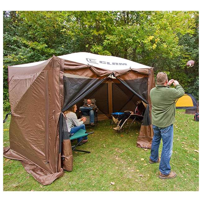 CLAM-PV-9882 + CLAM-PV-FLOOR-12878 Clam Quickset Pavilion Camper Brown Tent and Floor Tarp 6