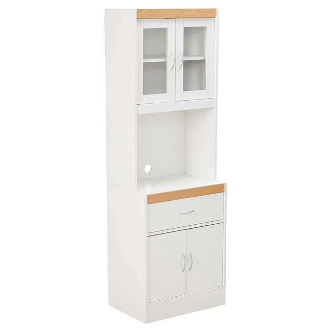 HIK96 WHITE Hodedah Freestanding Kitchen Storage Cabinet w/ Open Space for Microwave, White