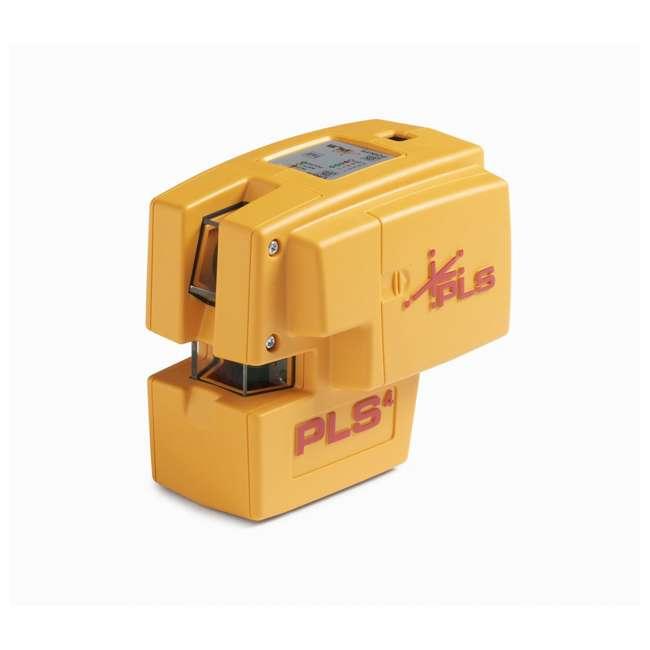 PLS-60574 Pacific Laser Systems PLS 4 Red Cross Line Laser Level w/ Plumb, Bob & Level 1