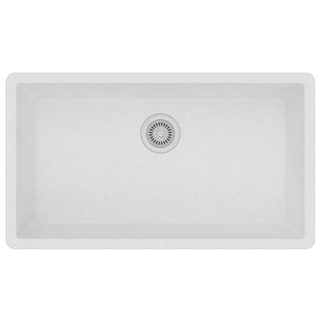 ELGRU13322WH0-OB Elkay Quartz Classic 33-Inch Rectangular Undermount Sink,White (OPEN BOX) 1