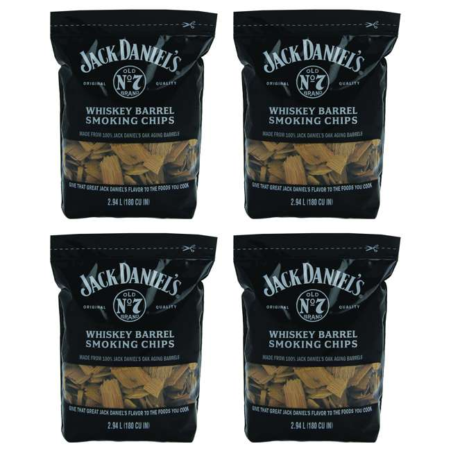 4 x 1749 Jack Daniel's Whiskey Barrel Smoking Oak Wood Chips, 180 Cubic Inches (4 Pack)