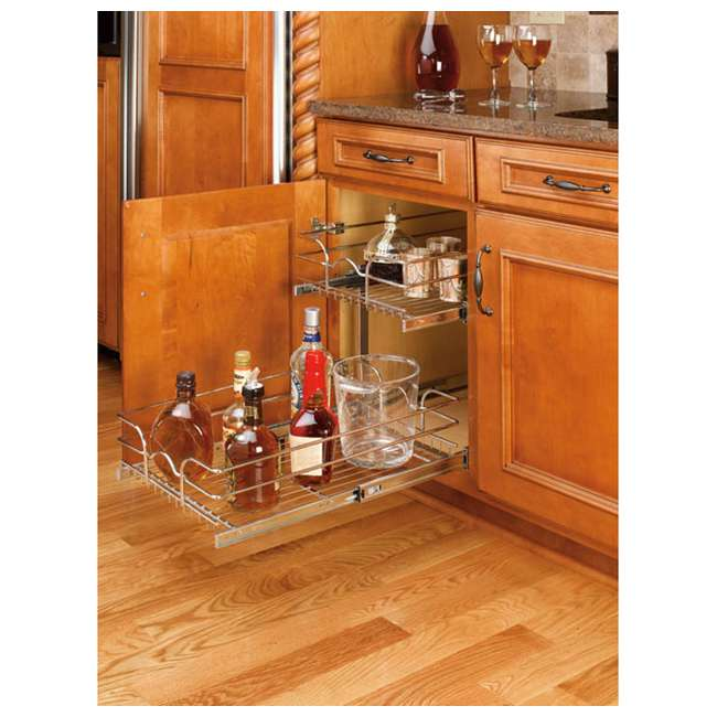 "5WB2-1522-CR Rev-A-Shelf 15"" Wide 22"" Deep Base Kitchen Cabinet 2 Tier Pull Out Wire Basket 1"