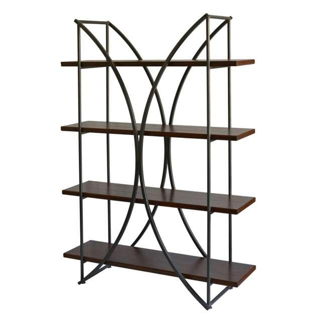 SC-SF24839 Abode 84 Elliptical Warehouse 4 Shelf Bookcase with Wood Shelves 1