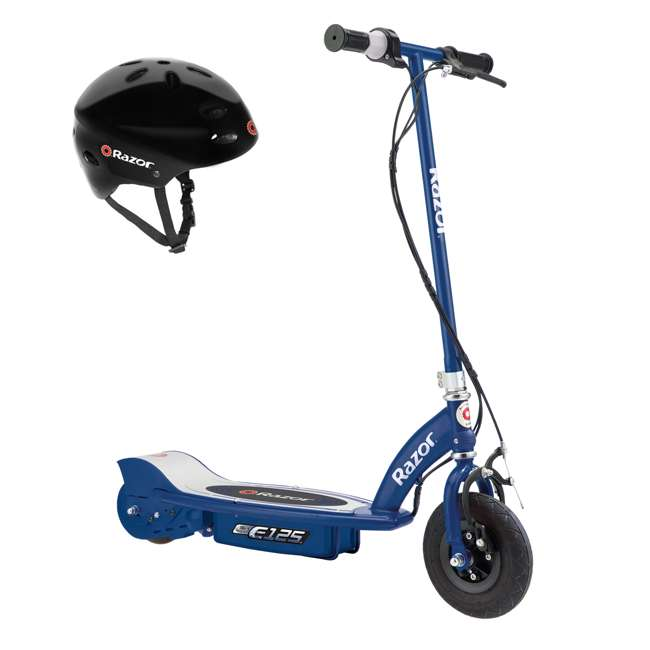 13111141 + 97780 Razor E125 Motorized 24-Volt Rechargeable Electric Scooter, Navy + Razor V17 Childrens Helmet, Black