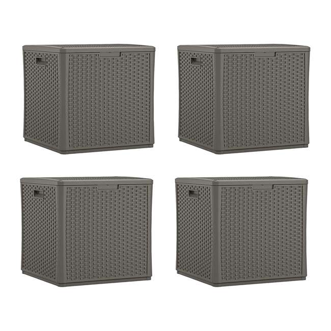 4 x BMDB60ST Suncast 60 Gallon Resin Outdoor Patio Storage Cube Deck Box, Stoney (4 Pack)