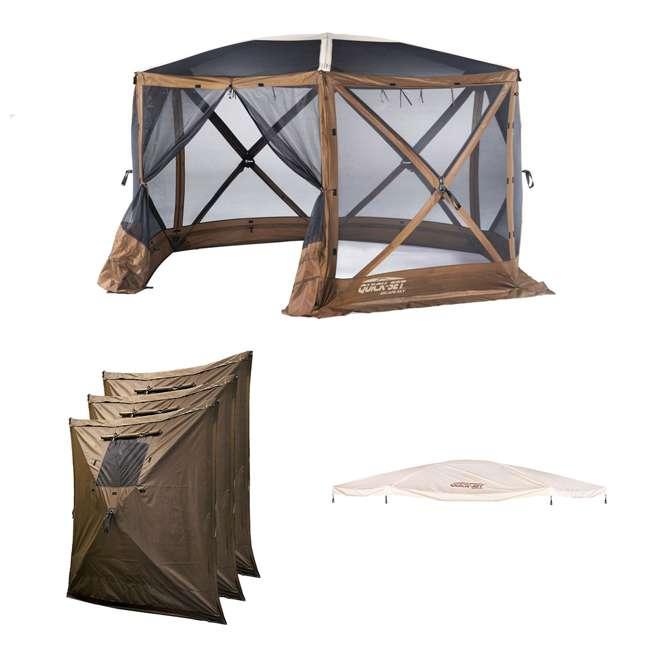 CLAM-ESSS-12873 + CLAM-WP-9898 + CLAM-ESSS-RF-1287 Clam Quick Set Portable Gazebo + Wind & Sun Panels + Rain Fly