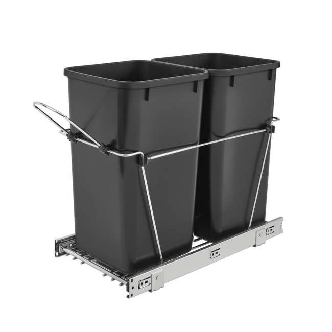 RV-15KD-18C S-30 Rev-A-Shelf RV-15KD-18C S Double 27 Quart Pullout Waste Bin Container, Chrome