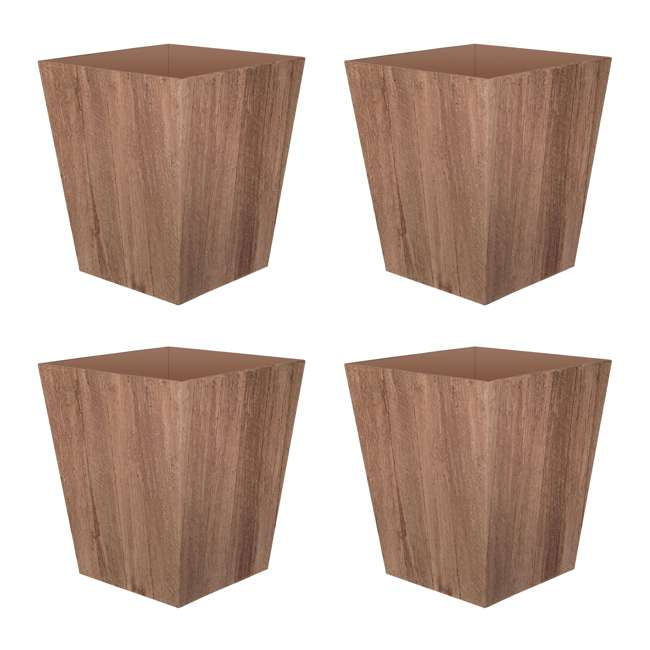4 x 1619BP4 Suncast 16 Inch Farmington Rustic Wood Finish Garden Planter, Brown (4 Pack)
