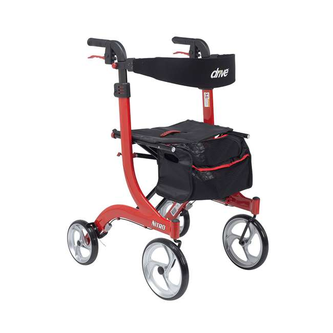RTL10266-T Drive Medical Nitro Euro Style Tall Height Rollator Walker, Red 1