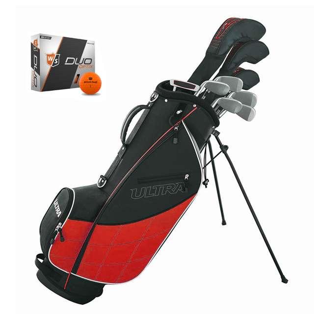 WGGC43200 + WGWP40800 Wilson Ultra Men's Complete Right Handed Golf Club Bag Set & Balls