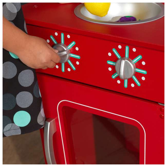 KDK-53362 KidKraft Classic Pretend Play Kitchenette Set, Red 6
