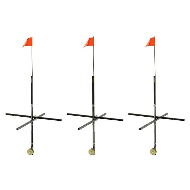 3 x 1720 Frabill Deep Snow Ice Fishing Wood Stick Tip Up Trap w/ 32 Inch Flag (3 Pack)