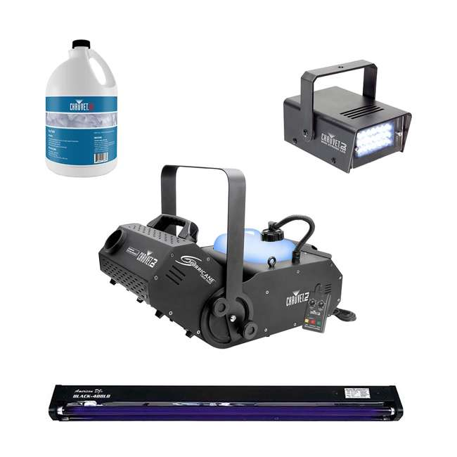 H1800FLEX + FJU + MINISTROBE-LED + BLACK-48BLB Chauvet DJ Hurricane 1800FLEX Fog Machine & Fog Juice, Strobe Light, Black Light