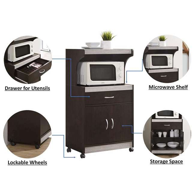 HIK72 CHOCO-GREY  Hodedah Wheeled Microwave Cart with Drawer and Cabinet Storage, Chocolate Grey 5