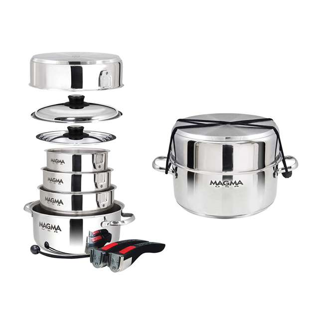 A10-360L Magma Products 10 Piece Nesting Milled Flat Stainless Steel Kitchen Cookware 3