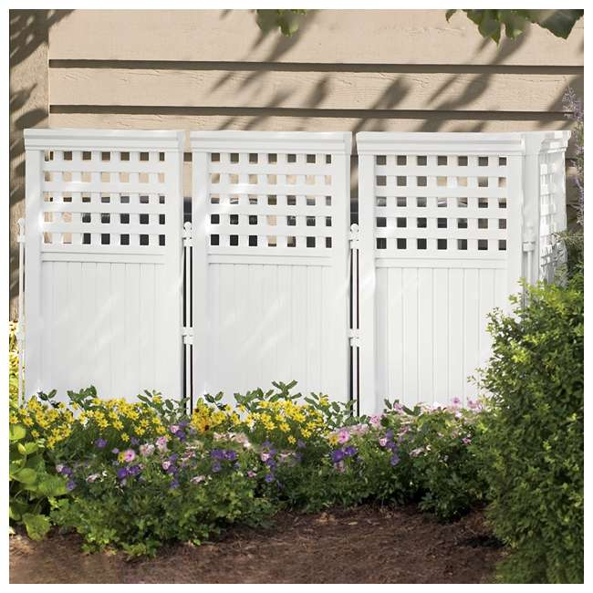 3 x FS4423D-U-B Suncast Garden Yard 4 Panel Screen Enclosure Gated Fence, White (Used) (3 Pack) 1